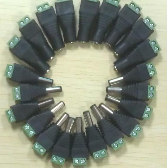 100% novo 2.1mm * 5.5mm Masculino Feminino DC Power Jack Conector Plug Adapter para Câmera de CCTV