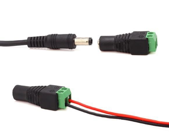 Frete grátis 5.5mm / 2.1mm DC Feminino Macho Conectores de Energia Plugues para Câmera de Segurança CCTV Masculino Feminino DC Power