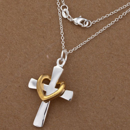 Wholesale 925 Silver Golden Cross - New Fashion 925 Silver Necklace Cross with Golden Heart Charms O Chains Necklace jewelry 18inch 10pcs