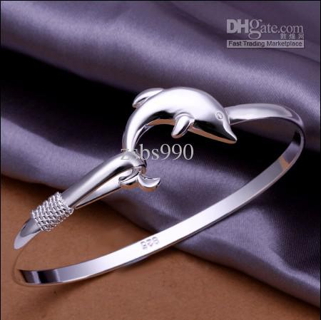 Factory price 925 silver charm dolphins bangles fashion classic women jewelry Top quality /