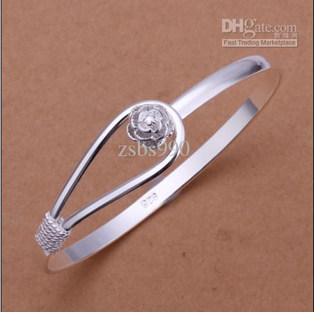 Top qualité 925 argent breloque fleur bracelets mode classique bijoux femmes bracelet livraison gratuite /