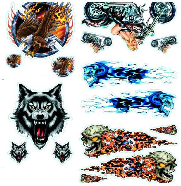MotorcycleCarBikeAuto StickerDecal Flame Skull - Flame stikers for car