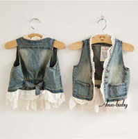 Wholesale Denim Lace Vest - Child Lace Cardigan Popular Fashion Summer Sleeveless Coats Girl Vest Kids Blue Denim Waistcoat Children Outwear Girls Cute Lace Waistcoats