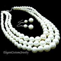 weiße ohrringe kostüm schmuck großhandel-best buy feine Perlenschmuck Natürliche 3 Strang White Pearls Halskette Ohrring Set Chunky Elegant Kostüm Perlenschmuck