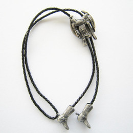 free cowboy boots NZ - Wholesale Retail Bolo Tie (2013 New Silver Plating Saddle Horseshoe Cowboy Boots Bolo Tie) Factory Direct In Stock Free Shipping