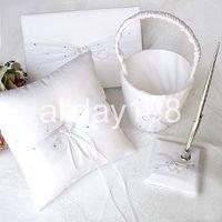 Wholesale Guestbook Heart - wedding favors white rhinestone heart design Guestbook Pen Set Ring Pillow Flower Basket