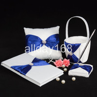 Wholesale Bow Guest Books - wedding favors blue bow design Guestbook Pen Set Ring Pillow Flower Basket
