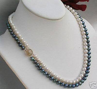 Wholesale Strand Sterling Silver Necklace - best buy fine pearls jewelry Natural Exquisite 2 Rows 7MM White Black Akoya Cultured Pearl Necklace