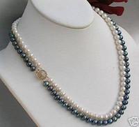 ingrosso l'acquisto di perle naturali-best buy gioielli perle fini Natural Exquisite 2 Rows 7MM White Black Akoya Collana con perle coltivate