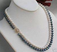 perlas negras de mejor calidad al por mayor-mejor compra joyería de perlas finas Exquisito Natural 2 Filas 7 MM Blanco Negro Akoya Collar de Perlas Cultivadas