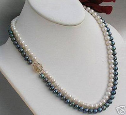 Wholesale White Akoya Cultured Pearl Necklace - best buy fine pearls jewelry Natural Exquisite 2 Rows 7MM White Black Akoya Cultured Pearl Necklace