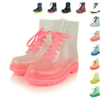 Wholesale Woman Rain Boots Cheap - Most Popular Women Short Rain Boots Ankle Ruber Black Red White Best Shoes Sale Transparent Crystal Thick Bottom Martin Boots Wellies Cheap