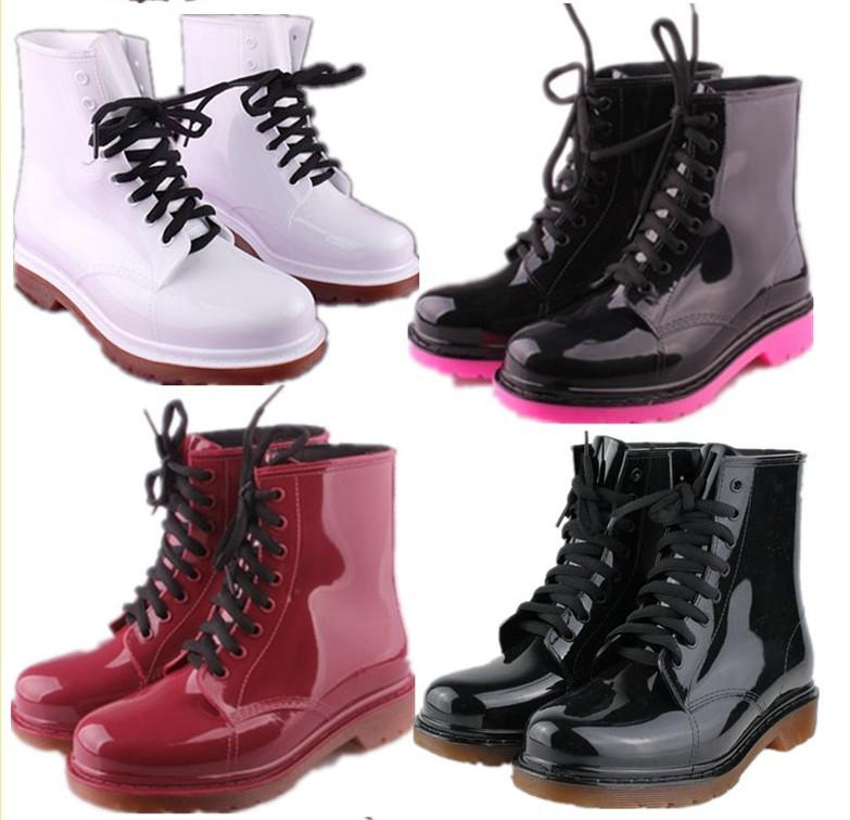 2016 Most Popular Women Short Rain Boots Ankle Ruber Black Red ...
