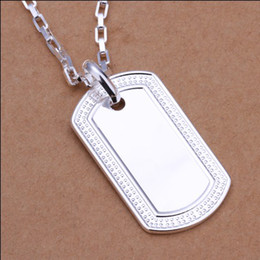 Wholesale Wholesale Dog Tags Military - Top quality 925 silver American soldiers military license pendant necklace fashion jewelry free shipping 10pcs lot