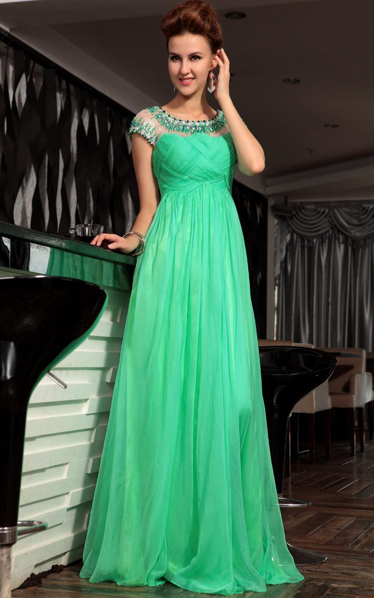 Beautiful Charming Green A-line Formal Evening Dresses Cap Sleeves Pleats Beads Rhinestones Long Party Gowns Floor length