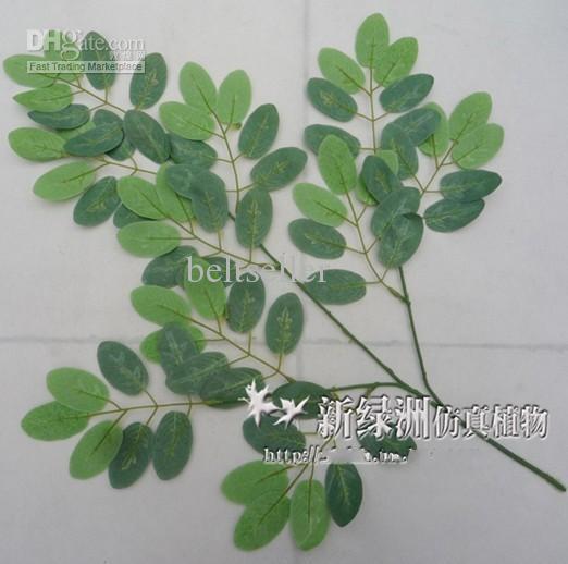 Simulação de folhas de plantas de seda Artificial folha de galhos de árvores Artificiais folha de árvore de gafanhoto 12 pçs / lote
