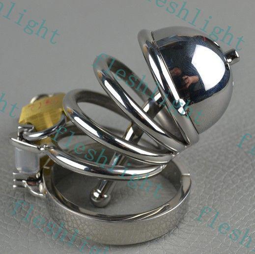 Nuovo: 2013 gabbia di acciaio inox / impedire la masturbazione cintura di castità di castità / giocattolo del sesso degli uomini / uretrale dispositivo plug-in di castità