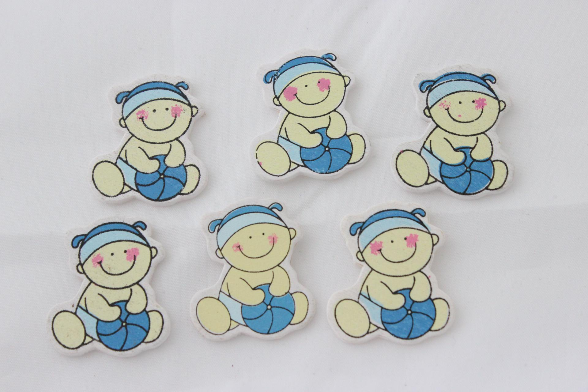 2017 Wooden Boy Baby Shower Favors cute Charms party Decorations
