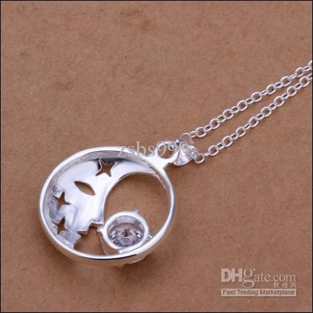 Precio de fábrica de plata de alta calidad 925 con incrustaciones de luna de circonio y las estrellas colgante collar de joyería de moda envío gratis 10 unids / lote