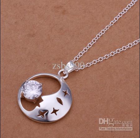 Fabrika fiyat En kaliteli 925 gümüş kakma zirkon ay ve yıldızlar Kolye Kolye Moda Takı Ücretsiz Kargo 10 adet / grup