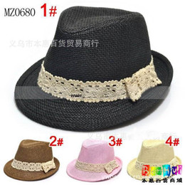 Wholesale Solid Fedora Kids - Kids caps, baby Straw Fedora Hats Solid Color Cowboy boys hats girls Sun Cap Topee, 10pcs lot, dandys