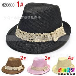 Wholesale Boys Fedora Hats Wholesale Straw - Kids caps, baby Straw Fedora Hats Solid Color Cowboy boys hats girls Sun Cap Topee, 10pcs lot, dandys