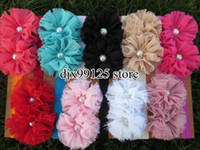 "Wholesale Chiffon Shabby Flowers Pearl - 27pcs lot Double 2.5""Chiffon Shabby Flowers with pearl baby headbands TOP baby elastic headbands Hair Accessories"