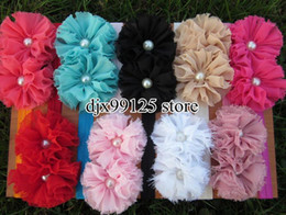"Wholesale Baby Flower Headband Chiffon Shabby - 27pcs lot Double 2.5""Chiffon Shabby Flowers with pearl baby headbands TOP baby elastic headbands Hair Accessories"