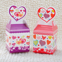 Wholesale Wedding Favors Models - 100pcs Popular Model Wedding Favors Candy Box Purple and Red Heart Design Favor Boxes Free Shipping