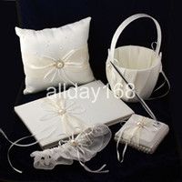 Wholesale Garters Guestbook - The pearl Ribbon Guestbook Pen Set Ring Pillow Flower Basket Garter for Wedding Favors Free Shipping
