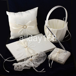 Wholesale Guestbook Ring Pillow - The pearl Ribbon Guestbook Pen Set Ring Pillow Flower Basket Garter for Wedding Favors Free Shipping