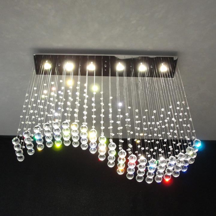 Modern Wave Crystal Pendant Light Ceiling Lamp Rain Drop ...