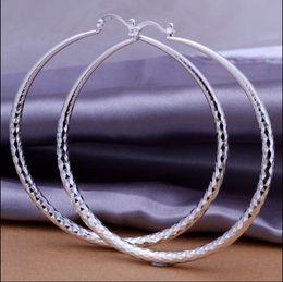 Wholesale big hoop earrings free shipping - Factory price Top quality 925 silver diameter 7.5CM big hoop earrings fashion classic women jewelry free shipping 10pair lot