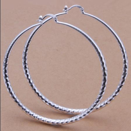 Prix usine Top qualité 925 argent diamètre 7.5 CM grand cerceau boucles d'oreilles mode classique femmes bijoux livraison gratuite /
