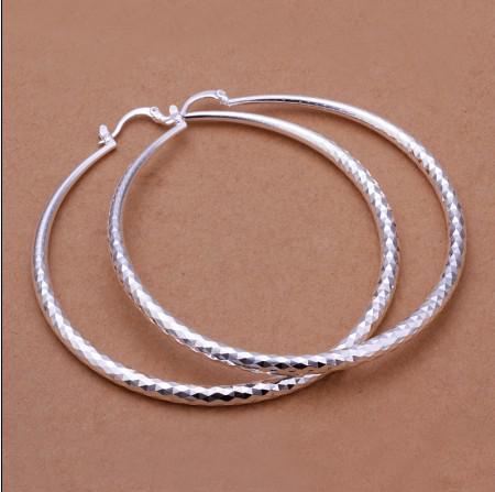 Fabrieksprijs Topkwaliteit 925 Silver Diameter 7.5cm Big Hoop Oorbellen Mode Klassieke Vrouwen Sieraden Gratis Verzending 10 Paar / partij