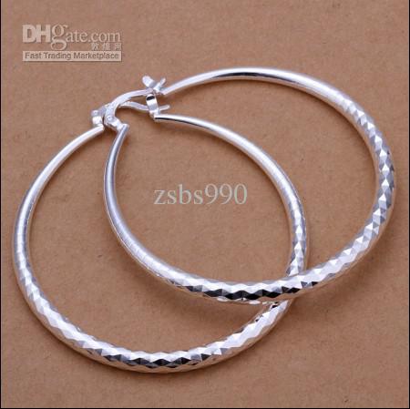 L'argento di alta qualità 925 gli orecchini classici del cerchio di diametro 5.1CM adattano i monili classici trasporto libero / delle donne