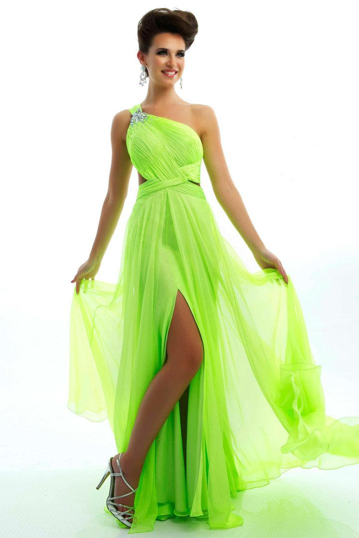 One Shoulder Prom Dresses 2015 Ball Gowns With Slit Criss Cross ...