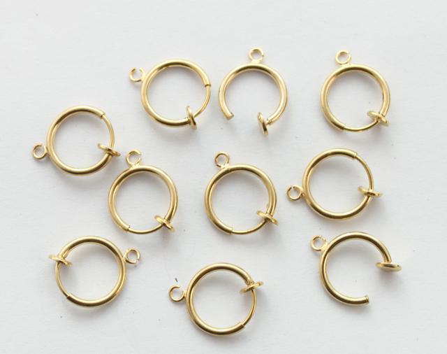 10 stks gouden plaat niet-piercing clip op lente oorringen 13mm # 22782
