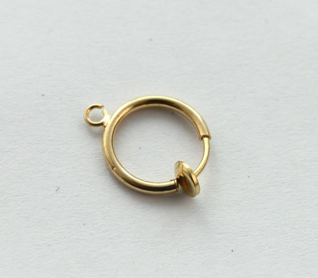 placa de ouro não-piercing Clipe em brincos de argola de mola 13mm # 22782