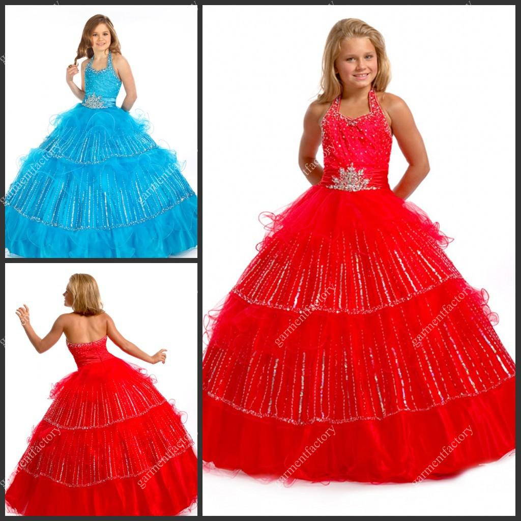 2013 Cute Halter Beaded Sweep Red Little Girls Prom Party