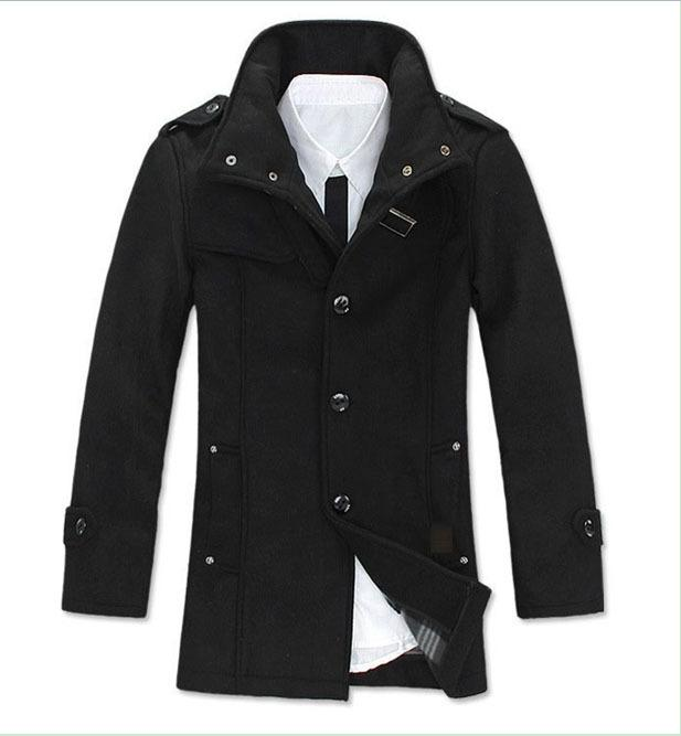 2018 Nwt Mens Wool Military Coat Winter Coat Gray/Black Color From ...