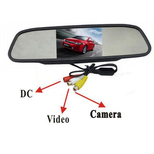 "170° Wide Angle Waterproof Metal Car Wireless Reversing Camera + 4.3"" LCD Car Rear View Mirror Monitor Kit"
