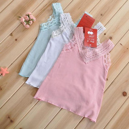 Wholesale Dress Child Garment - Children's Tank Tops girls cotton condole belt vest children condole belt unlined upper garment kids summer dress 5pcs lot