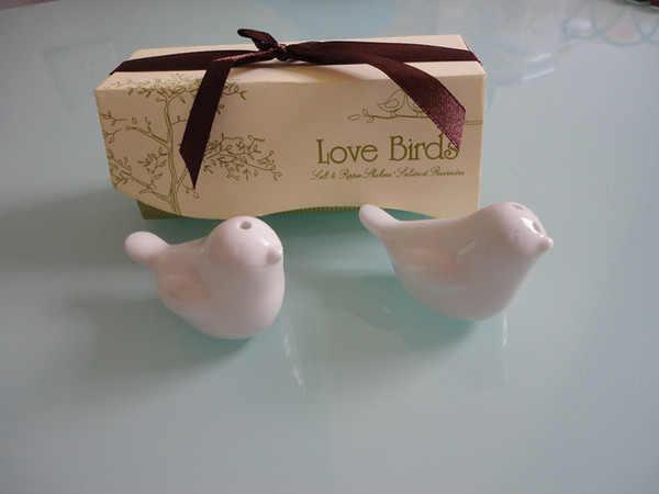 Free shipping 40 pcs/lot=20 SETS/LOT(1SET OF 2PCS),2013 Newest wedding favor, love bird salt pepper shaker