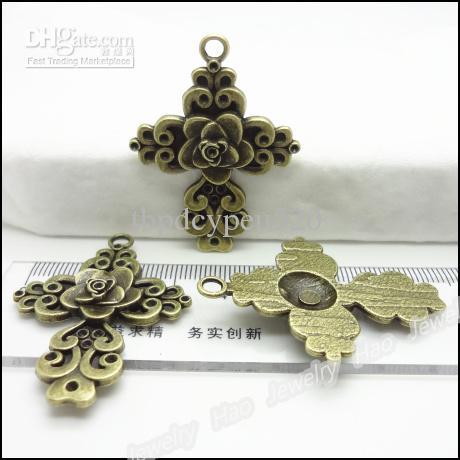 Charms traversa dell'annata 46x34mm antiquariato del pendente della collana misura i braccialetti di bronzo Gioielli fai da te /