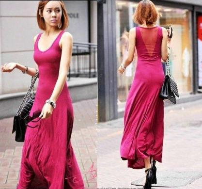 Women's Summer Slim Long Sun Maxi Modal Cotton Full Lenght Dress ...