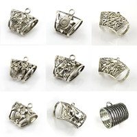 Wholesale Mixed Scarf Pendant Jewelry - 27PCS LOT, 9 Designs Mixed DIY Jewelry Scarf Pendants Alloy Clasp Holding Tube Charm Accessories, Free Shipping, ACMIX