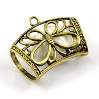 Wholesale Brass Pendant Charms - 20PCS LOT, DIY Jewelry Necklace Scarf Pendant Alloy Antique Brass Butterfly Charm Slide Tube Accessories, Free Shipping, AC0137