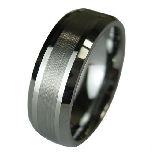 Tungsten Carbide Wedding Band Mens Ring Titanium Color Wideth 8mm