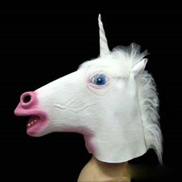 Wholesale Creepy Unicorn Costumes - 2013 Creepy Animal Horse Head Mask Unicorn Horned Masks Halloween Costume Theater Prop Novelty Latex Rubber white unicorn newes N1 50pcs lot
